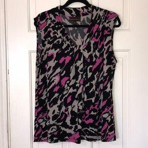 Dana Buchman Leopard Black Pink Beige Print Blouse